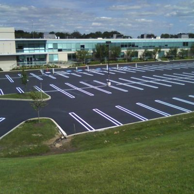 Ada compliant asphalt line striping parking lot